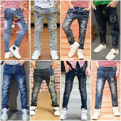 Boys Thin Light Color Casual Skinny Pants Denim Solid Spring Jeans Long Trousers