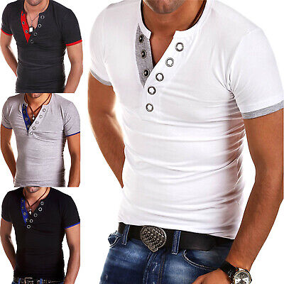 Mens Button V Neck T-Shirts Short Sleeve Slim Fit Summer Top Shirt Muscle Tee