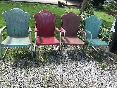 Set Of 4 Matching Antique Art Deco Metal Lawn Chairs hard To Find!