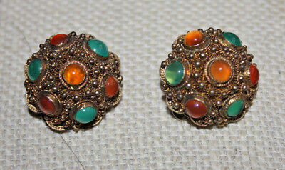 Antique Silver Clip On Earrings Gold Vermeil with Jade and Amber Color Stones