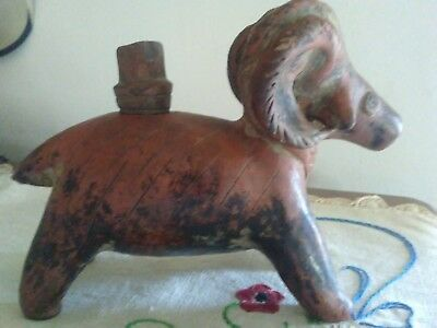 Pre Columbian Peruvian Red Clay Ram  Figure Ancient Art Pottery Vessel