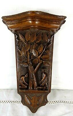 Antique French Hand Carved Wood Oak Console Bracket Shelf Support-Humorous scene