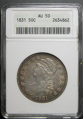 1831 Capped Bust Half Dollar ANACS AU-50  Small White Slab
