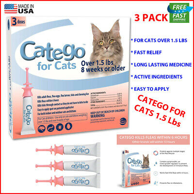 Catego Fast-Acting Flea and Tick Treatment for Cats (Over 1.5 lbs) FAST RELIEF