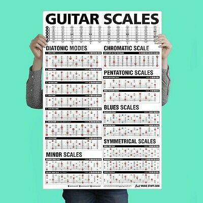 """Popular Guitar Scales Reference Poster 24""""x36"""""""