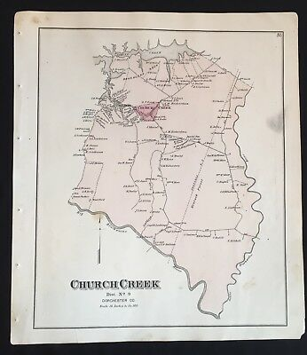 1877 EASTERN SHORE MARYLAND MAP Church Creek & MILTON Dorchester County POSTER