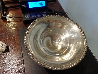 Vintage Backes Sterling Silver Repoussé Gadroon Rimmed Pedestal Bowl weighted
