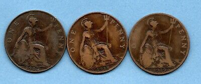 1912 H, 1918 H, 1919 H, KING GEORGE V PENNY COINS. 3 x HEATON MINT PENNIES. 1d.