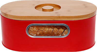 Mindful Design Retro Vintage Metal Bread Box with Wood Cutting Board Lid (Red)