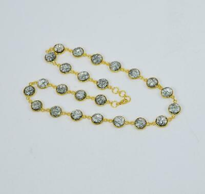 925 SOLID STERLING SILVER 24CT GOLD OVERLAY BLACK RUTILE CHAIN NECKLACE jP659