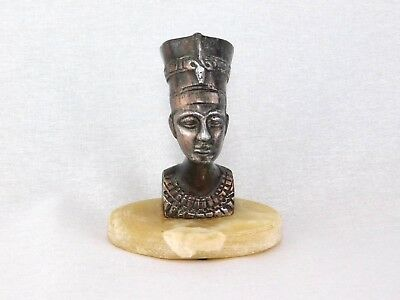 Vintage Egyptian Nefertiti Bronze/Copper Bust on Onyx Marble Stand Brass