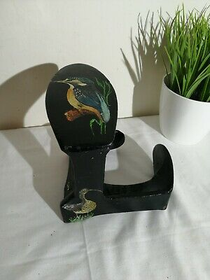Vintage Metal Cobblers Shoe Last Anvil Door Stop painted birds barge kingfisher