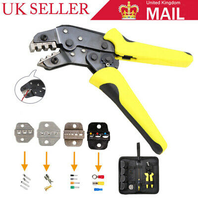 Ratchet Crimper Plier Crimping Tool Cable Wire Electrical Terminals Kit w/ Box