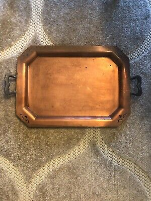 Vintage Handmade Hand Hammered Copper Serving Tray With Heart Cutouts And Handle
