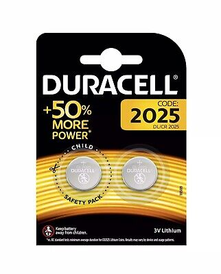 2 x Duracell CR2025 3V Lithium Coin Cell Battery 2025, DL2025, BR2025 for Keyfob