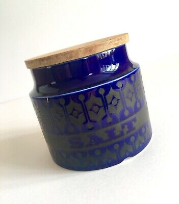Hornsea Pottery Heirloom Blue Small Salt Storage Jar Canister Retro Vintage Prop