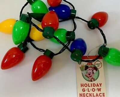 Disney Parks Christmas Holiday Glow Necklace With FLASHING LED New