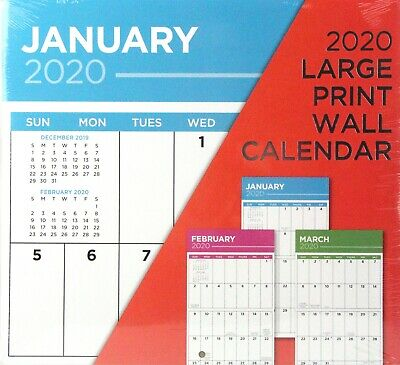 """2020 Large Print Red 12"""" x 12"""" Inspirational Wall Calendar New / Sealed"""