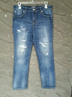 Boys 16 Skinny blue Jean Faded Ripped Patched Look very good condition 16x28