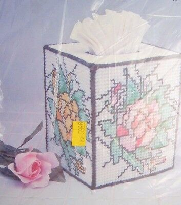 Vtg 90's Needlecraft Plastic Canvas Stained Glass Pop-Up Tissue Box Cover kit