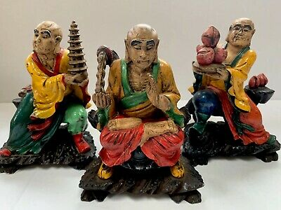 Antique Asian Carved Resin Polychromatic Hand Painted Gods Symbolic Statue Set