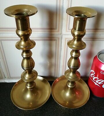 Pair High-Quality Brass Vintage Candle Stick/Holders with Tray.H-23.5cm/W-750g