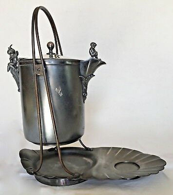 Antique Meriden Britannia Silverplate/Pewter Tilt-Pitcher Water Cooler w/Stand