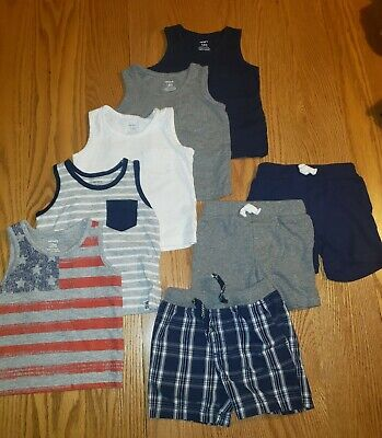 CARTER'S BABY BOY OUTFITS Shorts & Tanks SIZE 12 MONTHS Lot of 8
