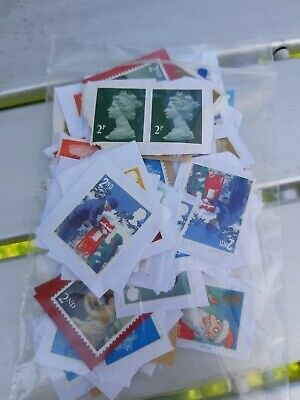 Mixed GB Unfranked Stamps (Slightly Damaged)(2nds) On Paper  F/V  £54.74