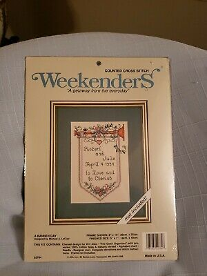 Weekenders Counted Cross Stitch kit A BANNER DAY with Mat NEW