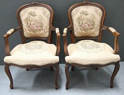Good pair French Louis XV carved armchairs Vintage antique tapestry fauteuils