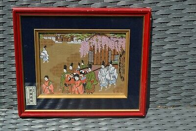 Vintage Asian Oriental Chinese Framed Picture Wall Art Scene on Fabric #1