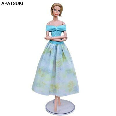 "Blue Doll Clothes For 11.5"" 1/6 Doll Outfits Party Gown Short Top & Midi Skirt"
