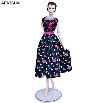"Black Floral Countryside Fashion Doll Clothes For 11.5"" 1/6 Doll Dress Outfits"