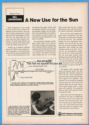 1969 Bell Telephone Laboratories Solar Radiation Study A New Use for the Sun Ad