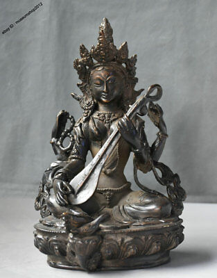 "8"" Old Tibet Buddhism Bronze Saraswati Fairy of Wonderful Sound Buddha Sculpture"