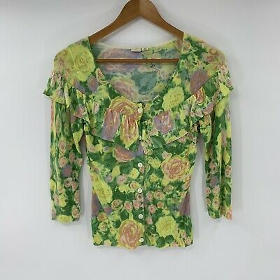 Anthropologie Little Yellow Bird Cardigan Sweater Green Floral Size XS Ruffle Q7