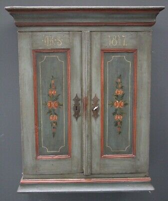 Large original Provincial antique Swedish hand painted spice cabinet dated 1847