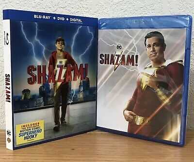 SHAZAM! (Blu-Ray + DVD + Digital, 2019) DC 2-DISC SET with LENTICULAR SLIPCOVER!