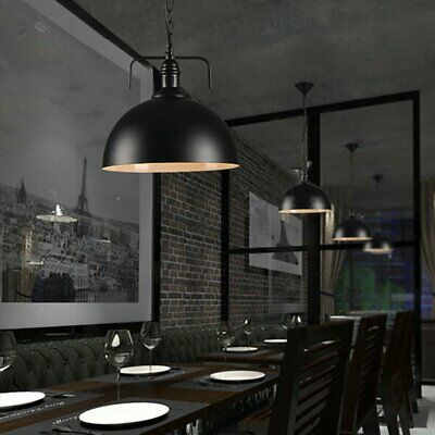 Black Kitchen Chain Pendant Light Antique Industrial Barn Hanging Fitting Lamp