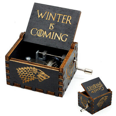 """Game of Thrones"" Music Box Carved Wooden Hand Crank Handmade Xmas Kids Gift"