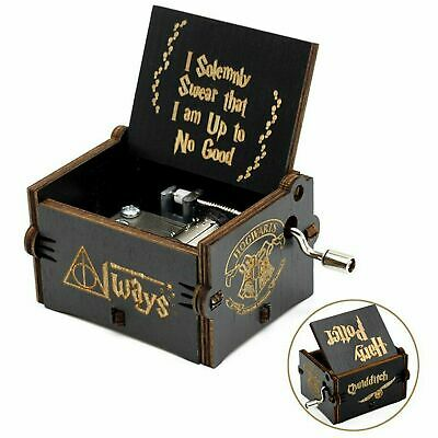 """Harry Potter"" Hand Crank Music Box Handmade Carved Wooden Friends Kids Toy Gift"