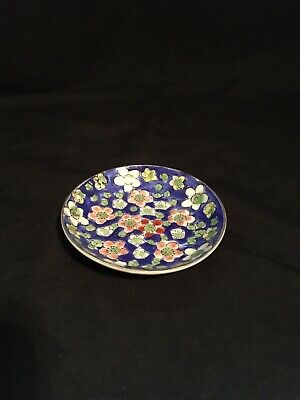 Vintage Antique Chinese Hand-Made Cloisonne Small Plate With Plumas Flowers