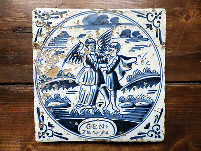 BIBLE/GENESIS 32/24 JACOB WRESTLING GOD~ANTIQUE c17th CENTURY DUTCH DELFT TILE