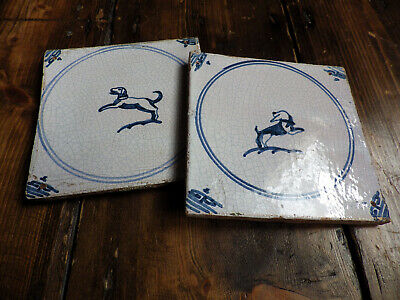 2 JUMPING DOGS~ANTIQUE c17th CENTURY HAND-PAINTED DELFT TILES~DUTCH BLUE POTTERY