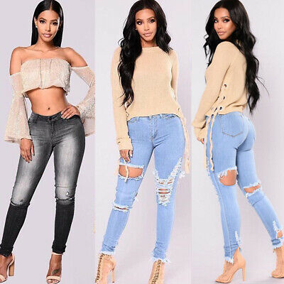 Au Womens Ladies Girls High Waisted Extreme Ripped Slim Skinny Jeans Size S-2Xl