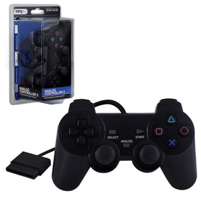 TTX Genuine PS2 Controller Black Wired Play Station II - Black