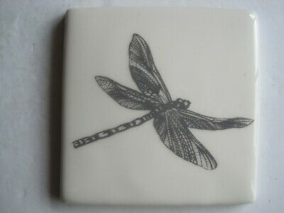 VINTAGE WINCHESTER 105 mm COPPER ENGRAVINGS NATURE TILE - EMPEROR (DRAGONFLY)