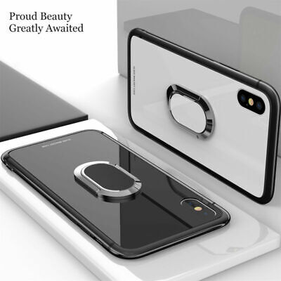 For iPhone Xs Max 7 8 Plus Magnetic TPU Rubber Case Cover With Ring Stand Holder