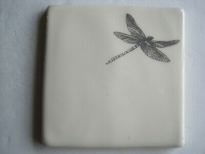 VINTAGE WINCHESTER 105 mm COPPER ENGRAVINGS NATURE TILE - NYMPH (DRAGONFLY)